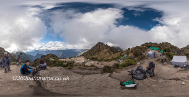 Andes Inca Trail campsite in the clouds